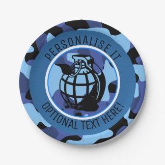 Blue Military Camouflage with grenade Paper Plate