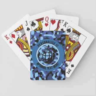 Blue Military Camouflage with grenade Playing Cards