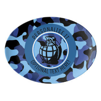 Blue Military Camouflage with grenade Porcelain Serving Platter
