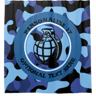 Blue Military Camouflage with grenade Shower Curtain