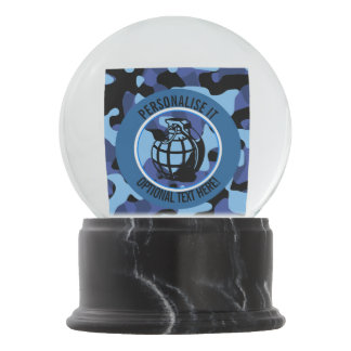 Blue Military Camouflage with grenade Snow Globe