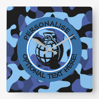 Blue Military Camouflage with grenade Square Wall Clock