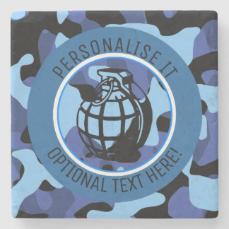 Blue Military Camouflage with grenade Stone Coaster