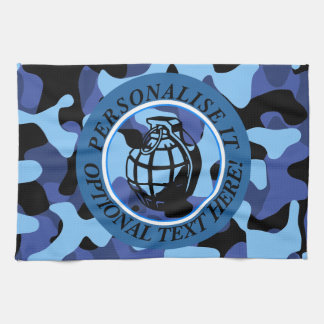 Blue Military Camouflage with grenade Tea Towel
