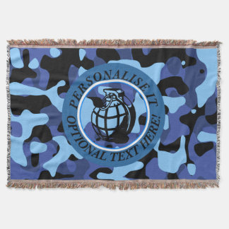 Blue Military Camouflage with grenade Throw Blanket