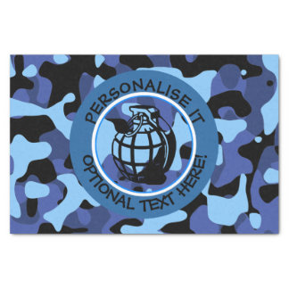 Blue Military Camouflage with grenade Tissue Paper