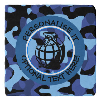 Blue Military Camouflage with grenade Trivet
