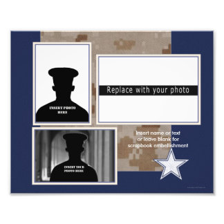 Blue Military Themed Photo Collage