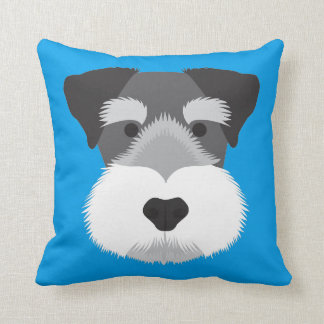 Blue Miniature Schnauzer Throw Pillow