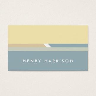 Blue Minimalist modern geometric yellow stripes Business Card