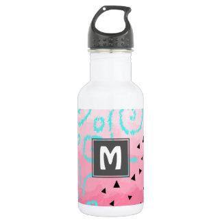 blue mint black geometric pattern pink brushstroke 532 ml water bottle