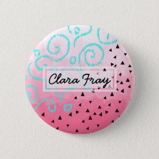blue mint black geometric pattern pink brushstroke 6 cm round badge