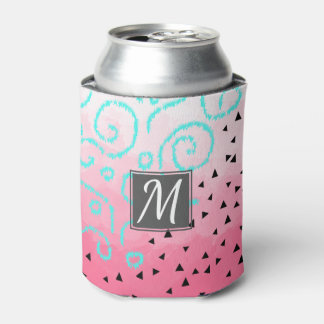 blue mint black geometric pattern pink brushstroke can cooler