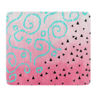 blue mint black geometric pattern pink brushstroke cutting board