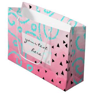 blue mint black geometric pattern pink brushstroke large gift bag