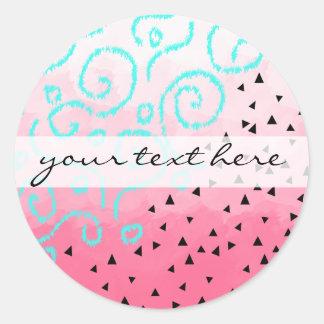 blue mint black geometric pattern pink brushstroke round sticker