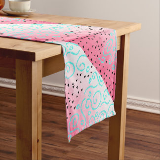 blue mint black geometric pattern pink brushstroke short table runner