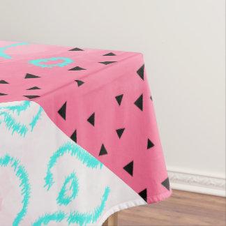blue mint black geometric pattern pink brushstroke tablecloth