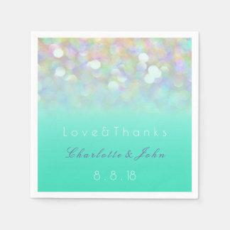 Blue Mint Purple Glitter Ombre Dandelion Wedding Disposable Serviettes