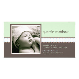 Blue | Mint Sweet Baby Boy Birth Announcement Customised Photo Card