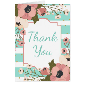 Blue Mint Thank You Pink Floral Turquoise Stripes Card