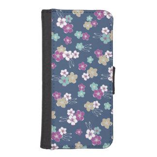 Blue Mint & violet hawaiian flowers exotic pattern