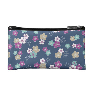 Blue Mint & violet hawaiian flowers exotic pattern Makeup Bag