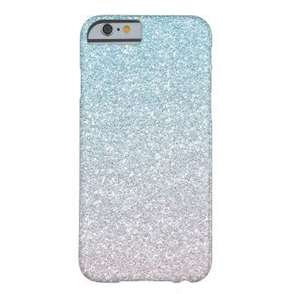 Blue Mist Faux Glitter Ombre Barely There iPhone 6 Case