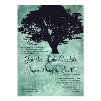 Blue Mist Oak Tree Silhouette Wedding Invitations