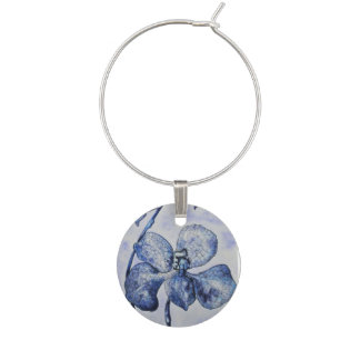 Blue Mist Orchid Wine Charm