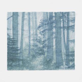 Blue Misty Forest Fleece Blanket
