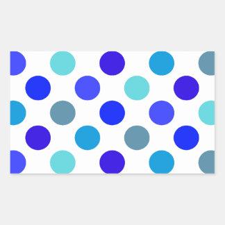 Blue Mixed Polka Dots Rectangular Sticker