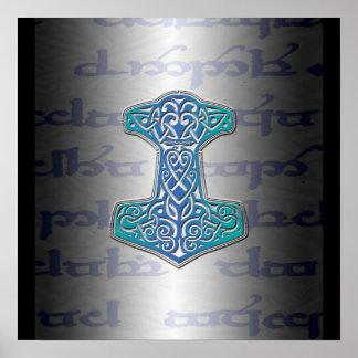 Blue Mjölnir on Tengwar Poster