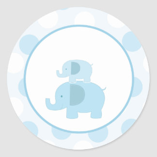 Blue Mod Elephant Envelope Seals / Toppers 20 Round Sticker