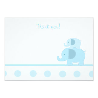 Blue Mod Elephant Flat Thank You notes Card