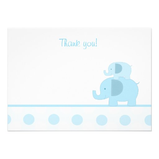 Blue Mod Elephant Flat Thank You notes Invites