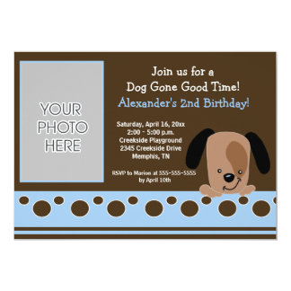 Blue Mod Puppy *PHOTO* Birthday 5x7 13 Cm X 18 Cm Invitation Card