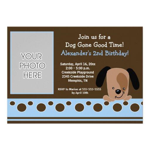 Blue Mod Puppy *PHOTO* Birthday 5x7 Personalized Invitations