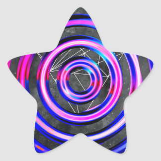 Blue,modern,abstract,cyber,circle,trendy,universe, Star Sticker