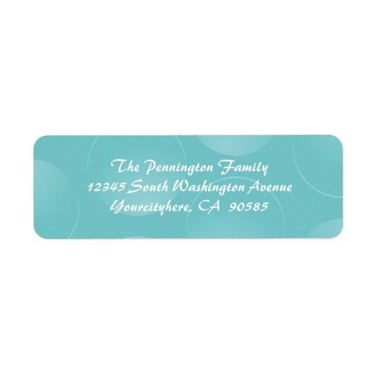 Blue modern bubbles return address envelope labels