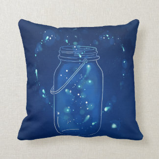 Blue Modern Firefly Love Jar Cushion