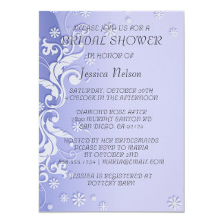 Blue Modern Floral Design Bridal Shower Invitation Custom Invite