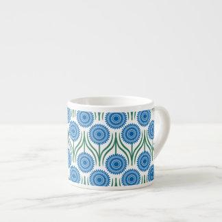 Blue Modern Floral Pattern-White Espresso Mug