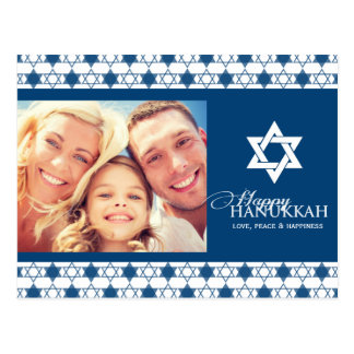 Blue Modern Hanukkah Stars Of David Holiday Photo Postcard