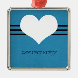 Blue Modern Heart Ornament