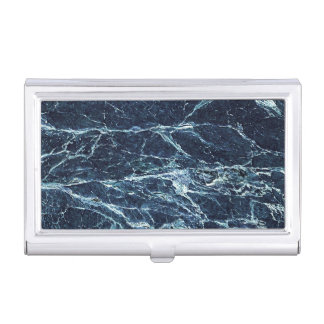 Blue modern marble pattern business card cases