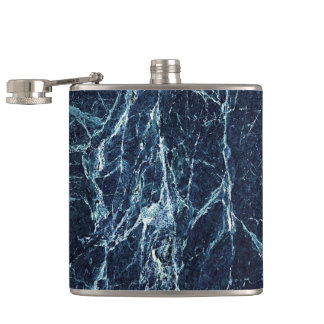 Blue modern marble pattern hip flask