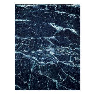 Blue modern marble pattern postcard