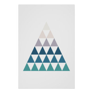Blue modern print triangle. Geometric wall art