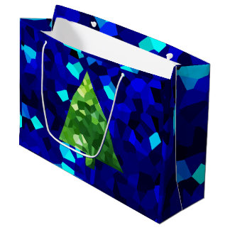 Blue Modern Stained Glass Holiday Christmas Tree Large Gift Bag